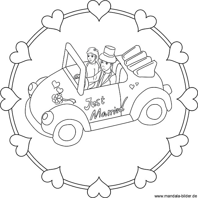 Ausmalbild Brautpaar Just Maried Malvorlage Hochzeitspaar