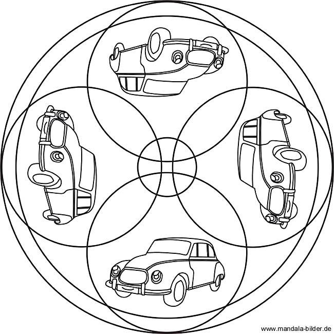 vier autos als mandala malvorlage für kinder