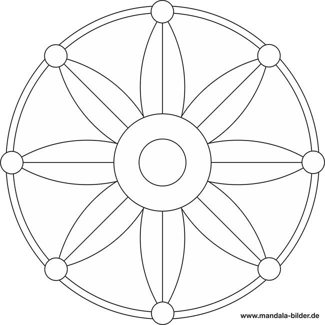 Mandala Malvorlage Blume zum Ausmalen