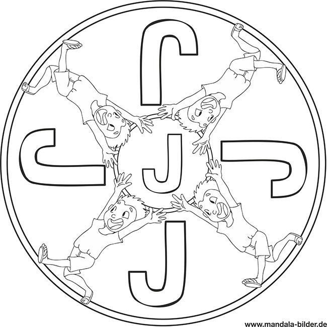 Buchstabe J - Mandala Ausmalbild Kinder zum Ausdrucken