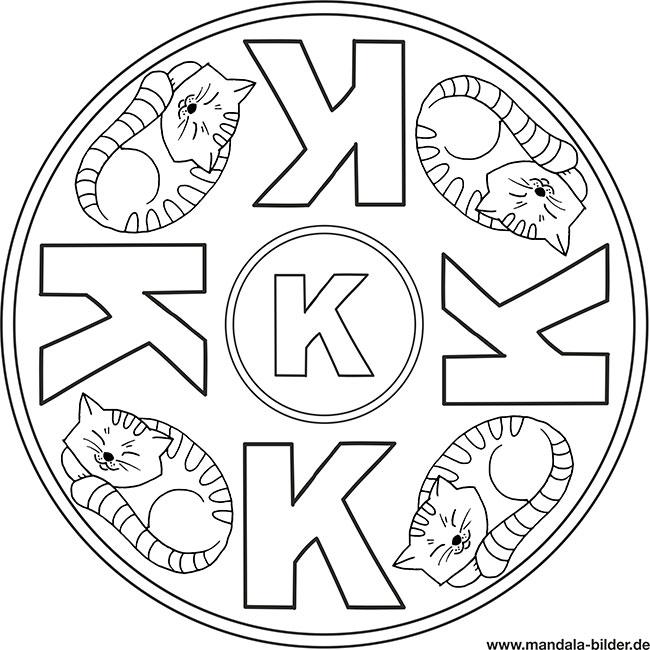 Mandala Buchstabe K – Malbild zum Ausmalen