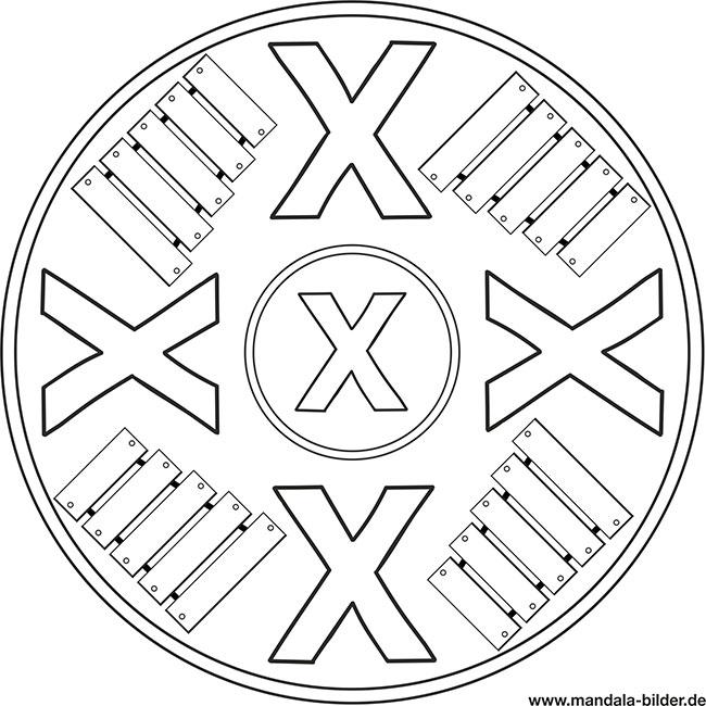 Buchstabe X Wie Xylofon Kostenloses Mandala