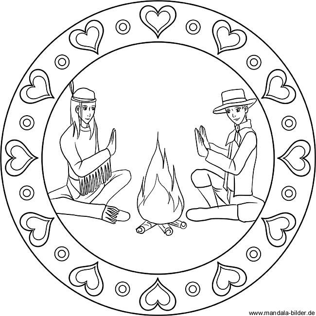 KinderMandala Ausmalbild  Cowboy und Indianer am Lagerfeuer