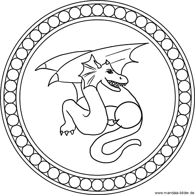 Drachen Mandala   Kinder Ausmalbilder zum Ausdrucken