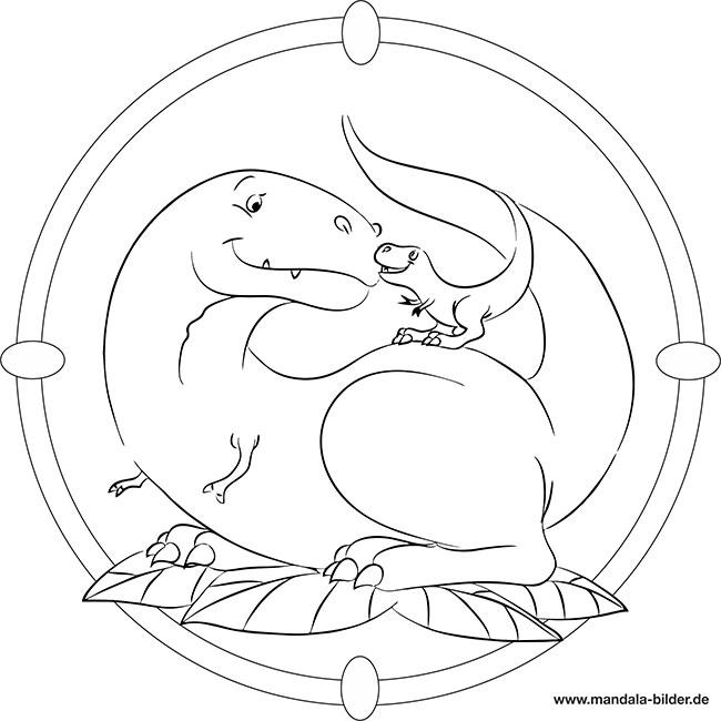 Dinosaurier Mit Baby Dino Kostenloses Mandala