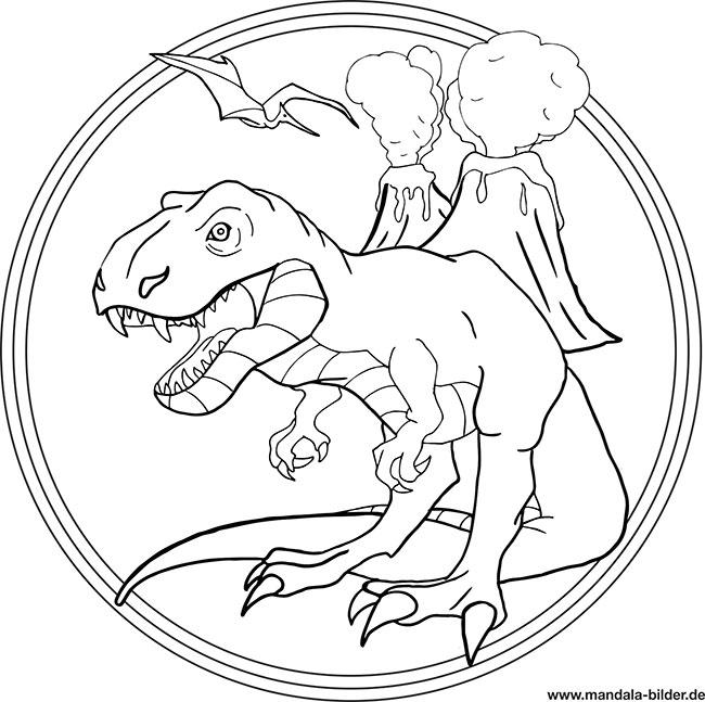 Mandala T Rex   Dino Ausmalbild für Kinder