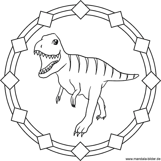 Tyrannosaurus Rex Dinosaurier Mandala Ausmalbild