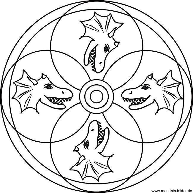 drachenkopf  mandala ausmalbild für kinder zum