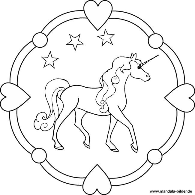 Einhorn - kostenloses Mandala Ausmalbild
