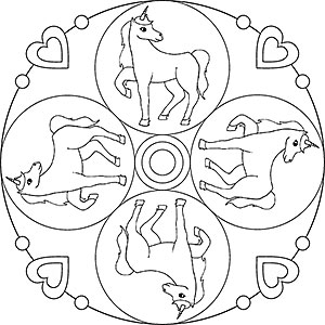 Pegasus Und Einhorn Als Kostenlose Mandalas Für Kinder