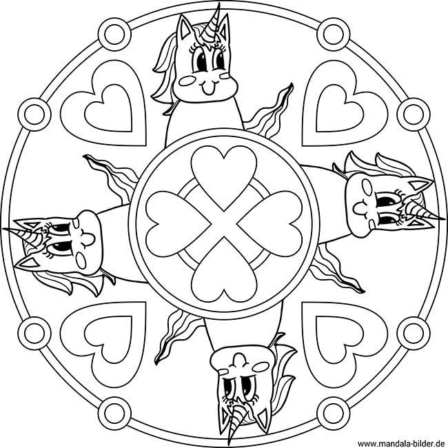 einhörner  mandala malvorlagen für mädchen