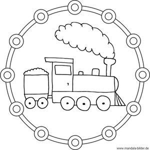 Kinder Mandalas Eisenbahnen Loks Zügen Und Lokomotive