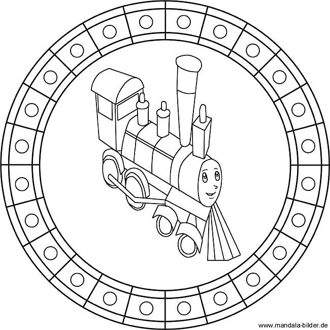 lokomotive als kinder mandala zum ausdrucken und ausmalen