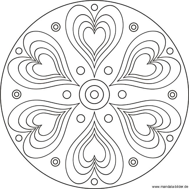 Mandala mit Herzen als gratis Vorlage
