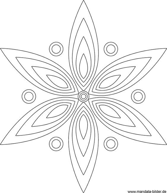 Mandala Vorlage in Blütenform zum Ausmalen und Entspannen