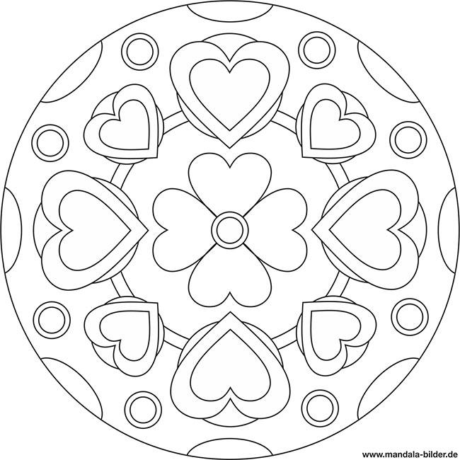 Gratis Mandala Vorlage Mit Einer Blume Und Vielen Herzen