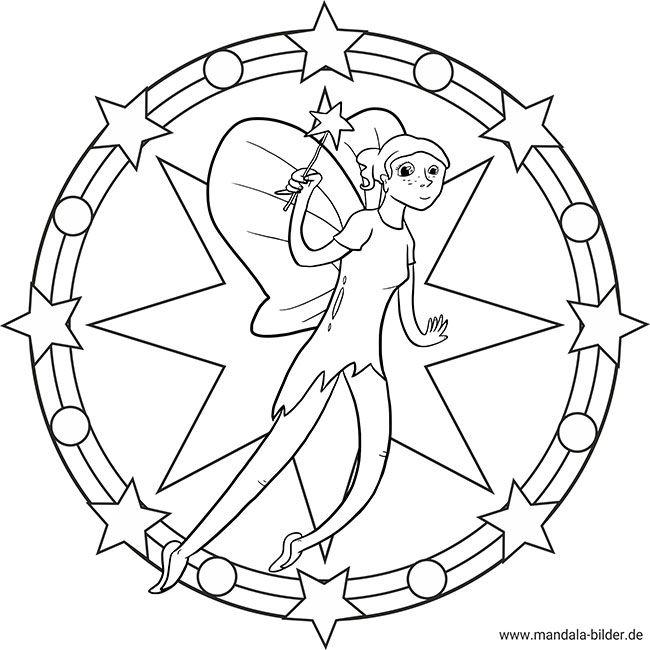 fee und ihrem zauberstab  kostenloses mandala und ausmalbild