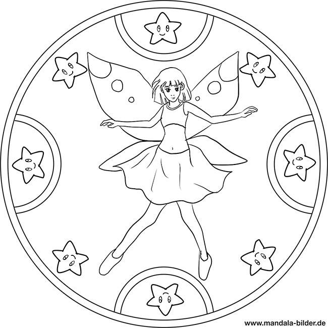 Mandala vorlage mit einer fee und vielen sternen für kinder