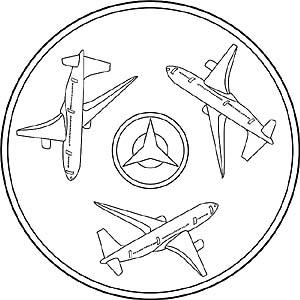 Kinder Mandalas mit Flugzeugen, Hubschraubern und Jets