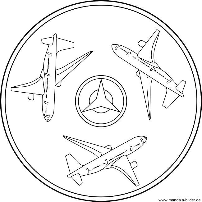 Mandala Flugzeug   Boeing als Ausmalbild für Kinder