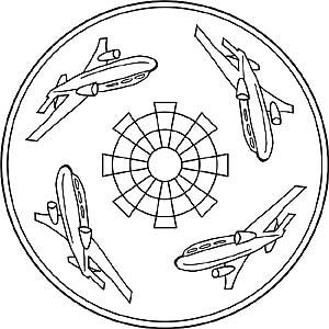 Kinder Mandalas Mit Flugzeugen Hubschraubern Und Jets