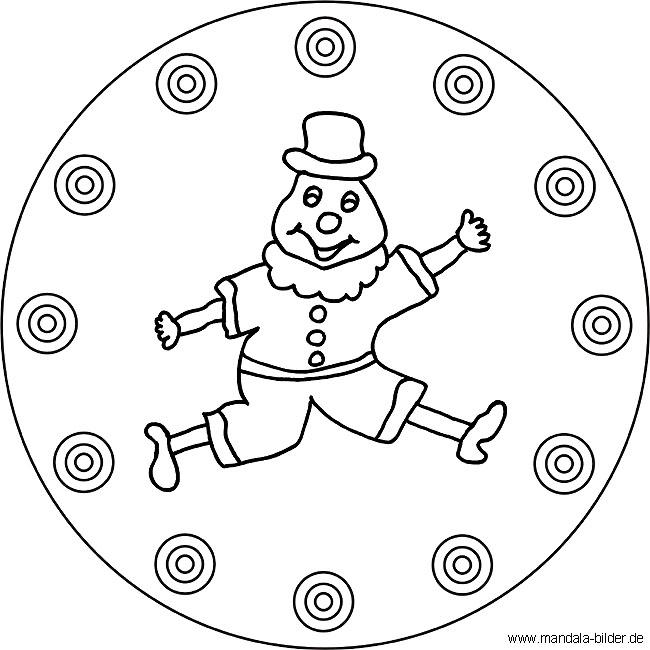 Mandala Clown Gratis Malvorlage Für Kinder