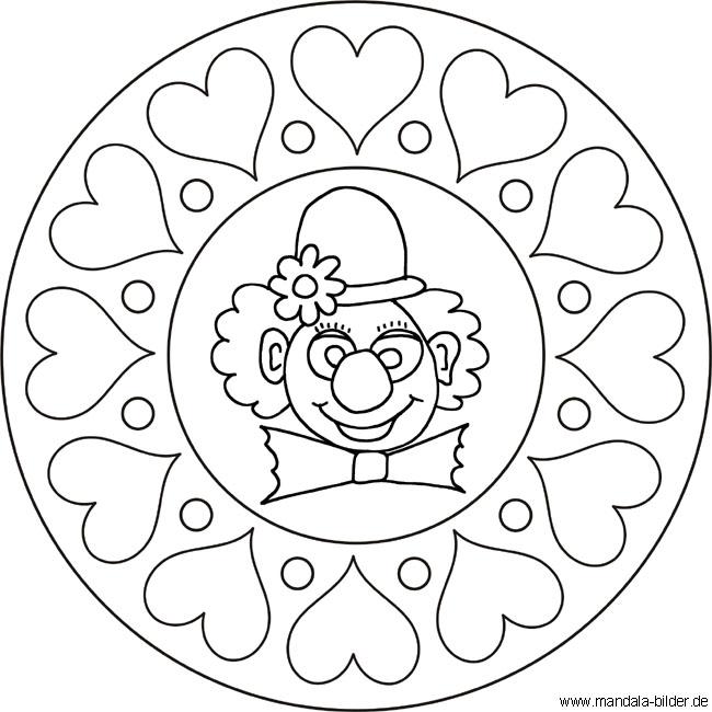 Mandala Clown mit Herzen - Gratis Kinder Malvorlage