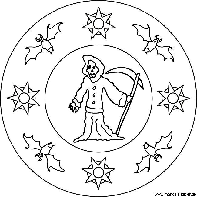 Mandala Halloween - Sensenmann und Fledermaus als Malvorlage