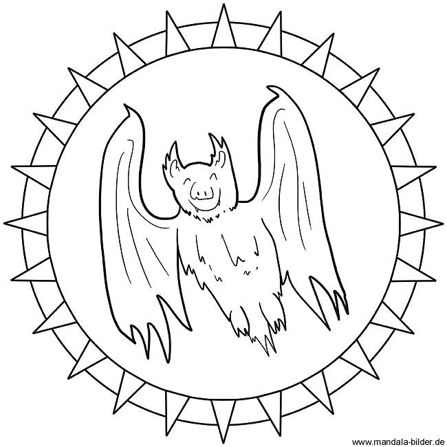 Fledermaus Oder Vampir Als Mandala Ausmalbild Zum Kostenlosen