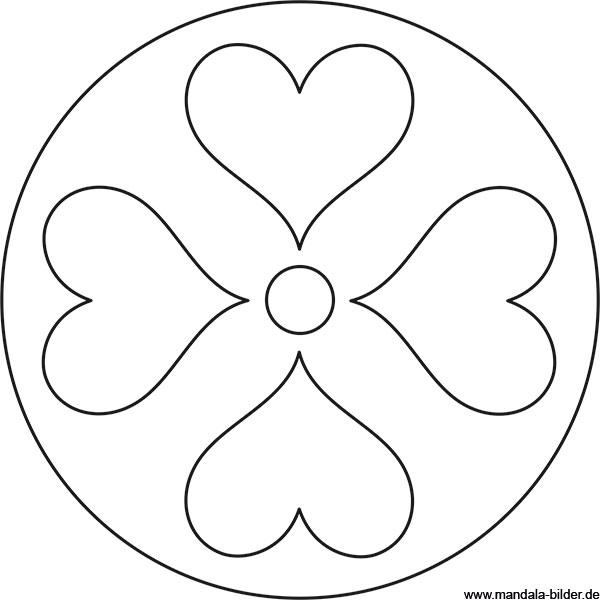 Mandala Mit Vier Großen Herzen Für Kinder Ab 3 Jahren