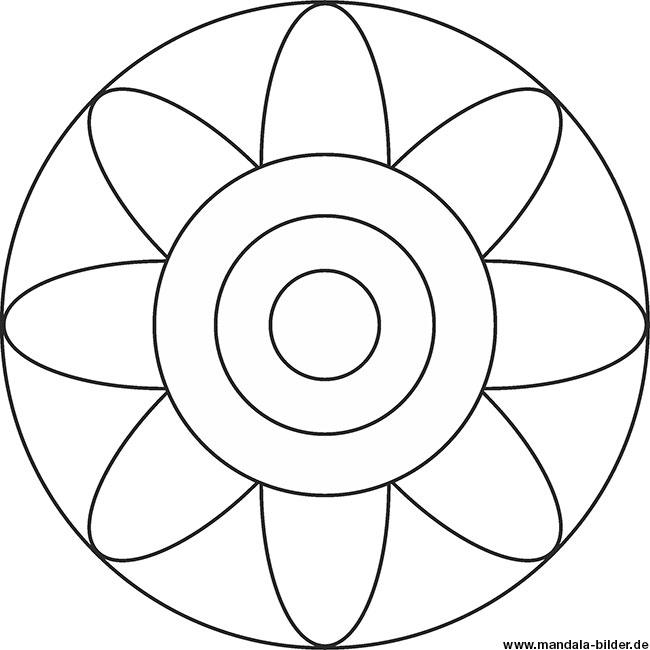Mandala Vorlage Blume für Kindergartenkinder