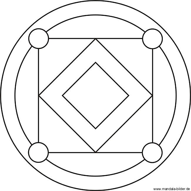 kinder mandala mit quadrate und kreise zum ausdrucken