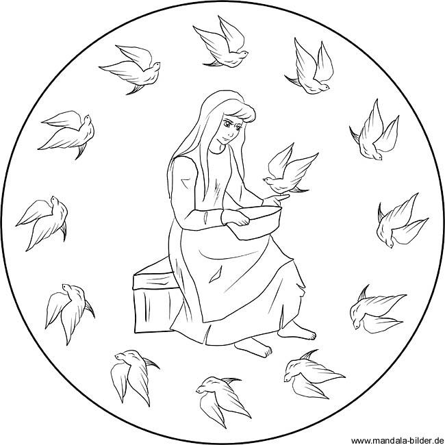Aschenputtel - Mandalas und Märchenbilder zum Ausdrucken