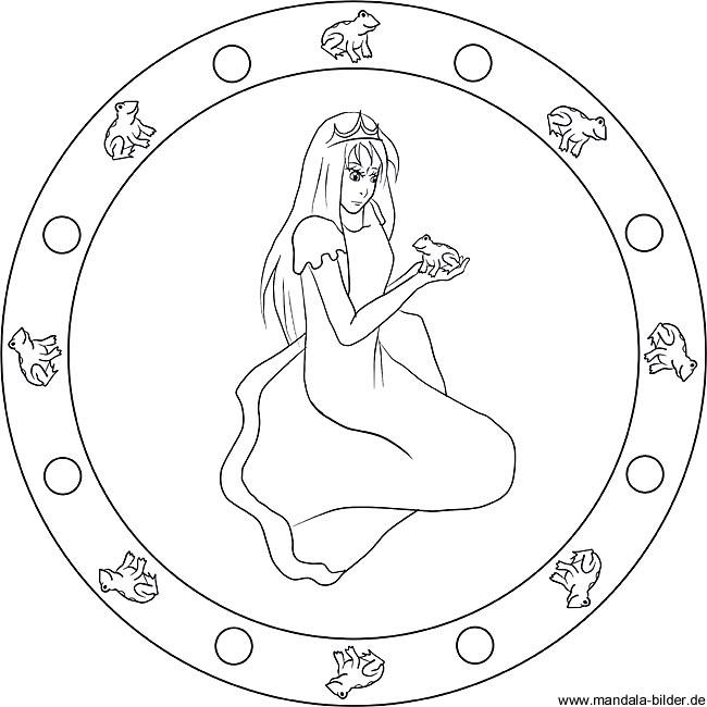 Der Froschkönig Mandala Für Kinder Als Märchenbild