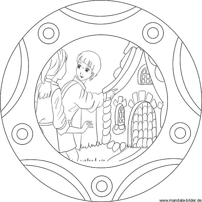 Hnsel Und Gretel Mchen Mandala Als Ausmalbild