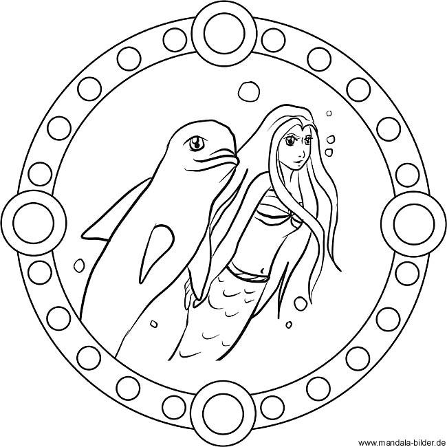 Mandala - Delfin und Meerjungfrau als gratis Malvorlage für Kinder