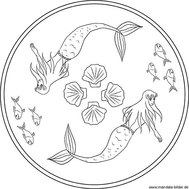 Meerjungfrauen Und Muscheln Gratis Mandala Zum Ausdrucken