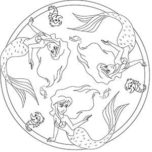 Meerjungfrau - Kostenlose Mandalas für Kinder zum Ausdrucken