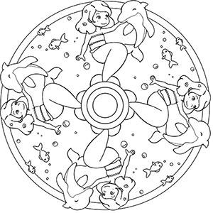 Meerjungfrau Kostenlose Mandalas Für Kinder Zum Ausdrucken