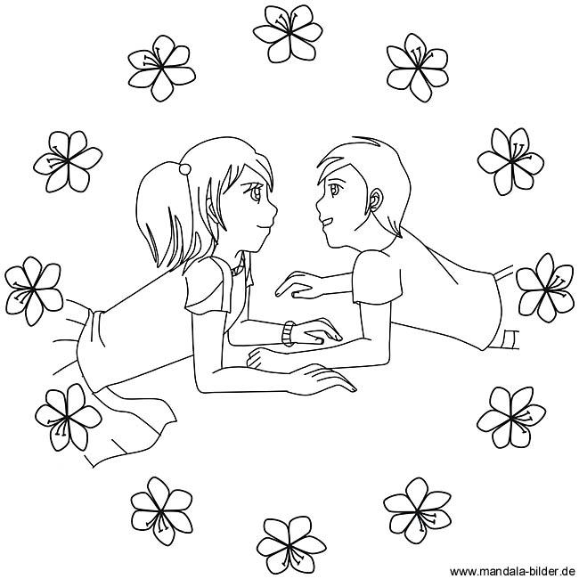 Ausmalbild zum Thema Liebe und Freundschaft