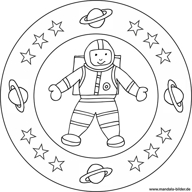 kinder mandala zum thema astronaut und weltall