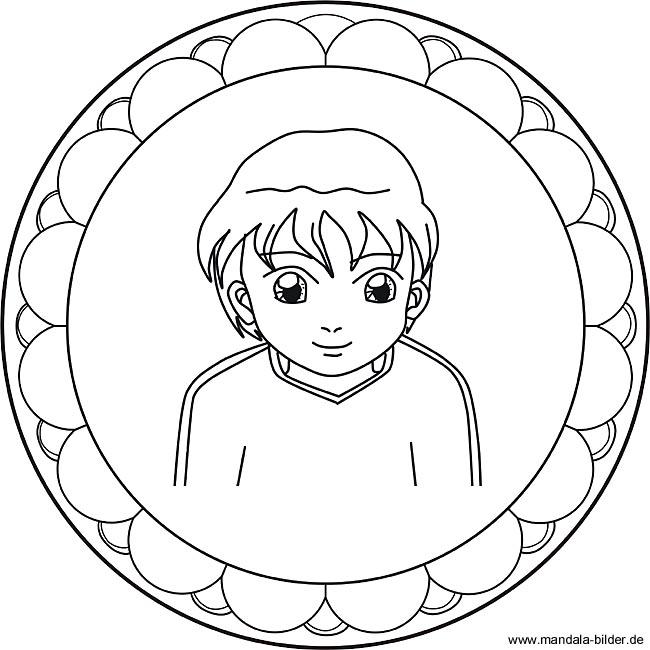 Kinder Mandala mit einem Jungen als Ausmalbild