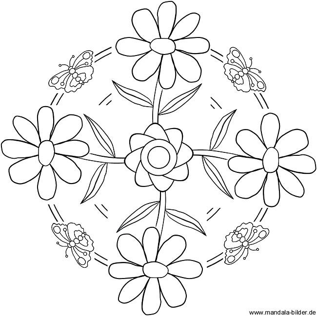 Frühling Mandala als gratis Malvorlage zum Ausdrucken
