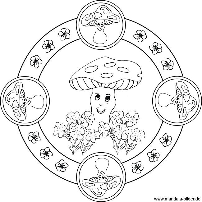 pilze  mandala ausmalbild zum ausdrucken und ausmalen