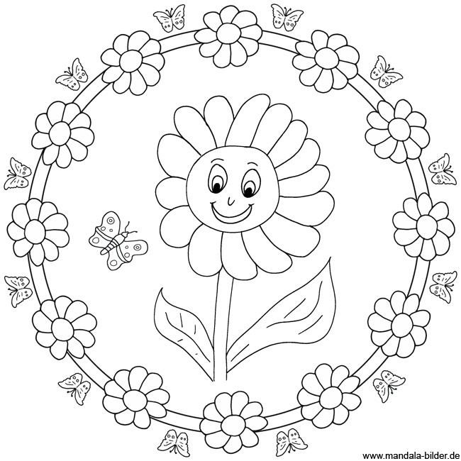 Sonnenblume - Mandala Malvorlage zum Ausdrucken