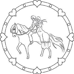 Pferde und Ponys - Gratis Mandalas als Ausmalbilder für Kinder
