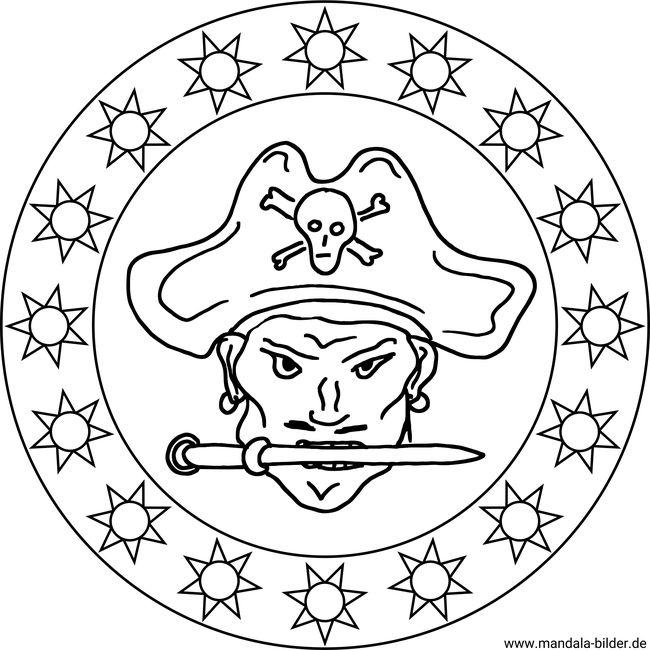 Mandala Vorlage Pirat Mit Einem Messer Zwischen Den Zähnen