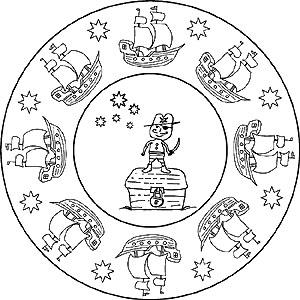 Mandalas Von Piraten Und Piratenschiffen Für Kinder