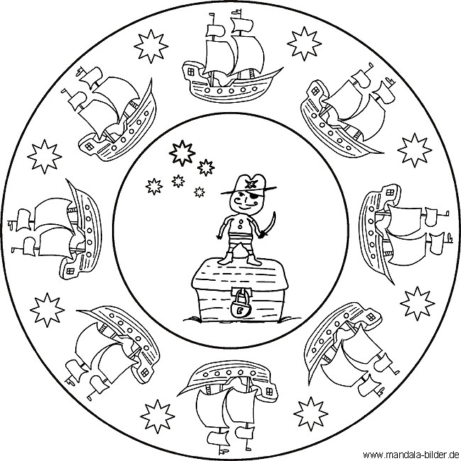 kinder mandala mit einem pirat und vielen piratenschiffen
