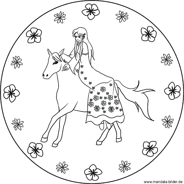 Prinzessin und ihr Pferd - kostenloses Mandala für Kinder